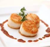 Freshly prepared scallops stock images
