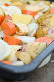 Freshly prepared seasonal Winter vegetables in roasting tin Stock Photo