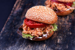 Freshly prepared sloppy joe sandwich Stock Photos