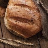 Freshly prepared spicy bread on a wooden table stock photos
