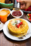 freshly prepared traditional pancakes with strawberries Stock Image