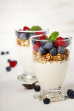 Freshly prepared yogurt parfait with fresh fruit and mint Stock Image