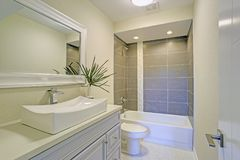 Freshly renovated bathroom features shower tub combo. With grey subway tile, a white nailhead mirror mounted over a sink vanity finished with a rectangular sink royalty free stock photography