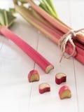 Freshly rhubarb. More freshly rhubarb on a tray Stock Photos