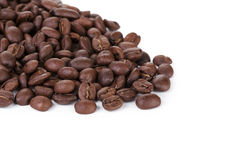 Freshly roasted coffee beans border Stock Images