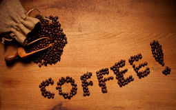 Freshly Roasted Coffee Beans Coffee Text Stock Photography