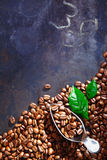 Freshly roasted coffee beans on slate Royalty Free Stock Photos