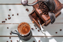 Freshly roasted ground coffee with beans Stock Photo
