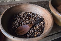 Freshly roasted Luwak coffee beans at Bali Indonesia royalty free stock photography