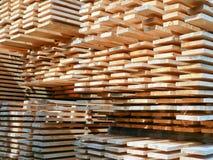 Freshly sawed planks stapled Stock Photos