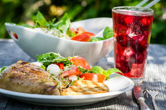 Freshly served dinner in the garden. In summer Royalty Free Stock Images