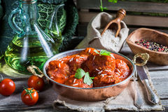 Freshly served meatballs in tomato sauce Royalty Free Stock Photography