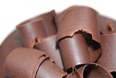 Freshly Shaved Chocolate. High quality semi-sweet chocolate curls.  With narrow DOF Stock Photos