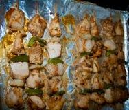 Freshly shish kebab with greens Stock Photos