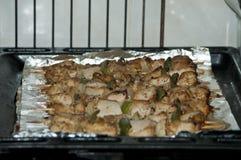 Freshly shish kebab with greens Royalty Free Stock Photos