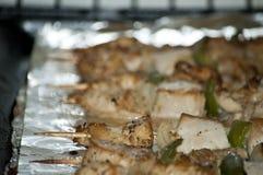 Freshly shish kebab with greens Stock Photo