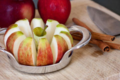 Freshly Sliced Apples and Cinnamon Sticks Stock Photography