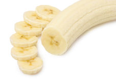 Freshly sliced bananas. On a white background stock images