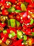 Freshly sliced chili Stock Photography