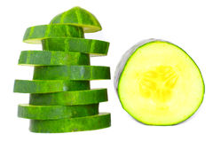 Freshly sliced cucumber. Royalty Free Stock Photography