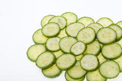 Freshly sliced cucumber Stock Photography