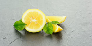 A freshly sliced lemon Royalty Free Stock Image