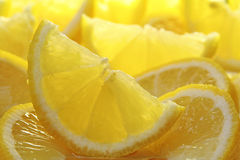 Freshly sliced lemons. stock image