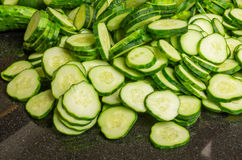 Freshly sliced pickles or cucumbers Royalty Free Stock Photography