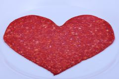 Freshly sliced sausage Royalty Free Stock Photos