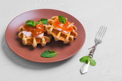 Freshly soft thick Belgian waffles Royalty Free Stock Photo
