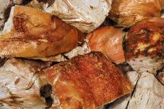 Freshly Spit Roasted Gourmet Pork Shoulder Slices Detail Stock Image