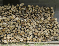 Freshly Split Firewood Stacked Neatly Royalty Free Stock Images