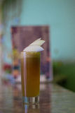 Freshly squeezed apple juice. On the table royalty free stock images