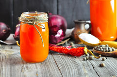 Freshly squeezed carrot juice Stock Photography