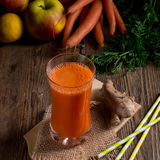 Freshly squeezed carrot juice. A tasty freshly squeezed carrot juice Royalty Free Stock Images