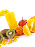 Freshly squeezed fruit juice. Over a white background royalty free stock photos