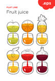 Freshly squeezed fruit and vegetable juice Royalty Free Stock Photos
