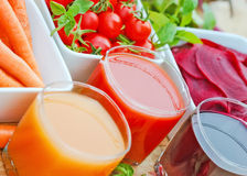 Freshly squeezed juices from organic vegetables Royalty Free Stock Image