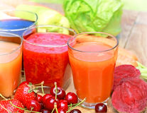 Freshly squeezed juices Stock Image