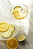 Freshly squeezed lemon juice in a glass Royalty Free Stock Images