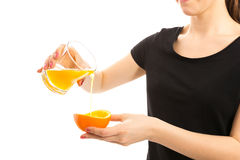 Freshly squeezed orange juice. Isolated Stock Image