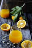 Freshly squeezed orange juice. Selective focus. Royalty Free Stock Photography