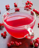 Freshly squeezed red juice, and bunches of red currants Stock Photos