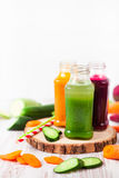 Freshly squeezed vegetable juice in bottles, useful vitamin cock Stock Images