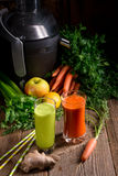 Freshly squeezed vegetable juices Stock Photos