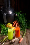 Freshly squeezed vegetable juices Stock Photography