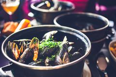 Freshly Steamed Mussels In A Bowl - A Classic Dish In Belgium And France Stock Image
