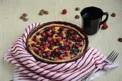 Pie. Fruit tarts with sweet fresh berries royalty free stock photos