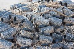 Freshly used wet fishing net Stock Image