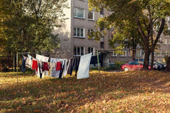 Freshly washed loundry is hanging in the clothesline Stock Images